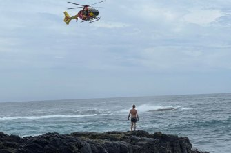One of the bystanders who jumped in the water on Wednesday to help a group of people swept off rocks at Bushrangers Bay.