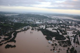 Aerial photos of Lismore showing flooding from the aftermath of Cyclone Debbie in March 2017. Cyclones are tracking further south and the share of major ones is on the rise.