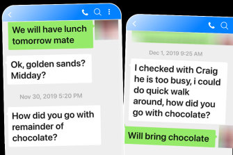 """An exchange between an Australian meat industry executive and a Chinese labour hire operator. """"Chocolate"""" refers to a bribe."""