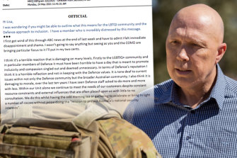 """Emails reveal staff felt shame after Defence Minister Peter Dutton banned IDAHOBIT celebrations, claiming """"we are not pursuing a woke agenda""""."""