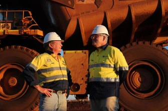 Mining billionaire Andrew 'Twiggy' Forrest and Prime Minister Scott Morrison at the Christmas Creek mine site in the Pilbara.