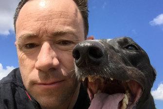 David Lamoureux and his greyhound Emma