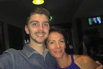 Constable Josh Prestney with his mother, Belinda.