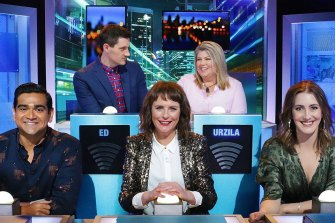 Previously on HYBPA?, with (clockwise from back left) Ed Kavalee, Urzila Carlson, Hayley Sproull and Dilruk Jayasinha.