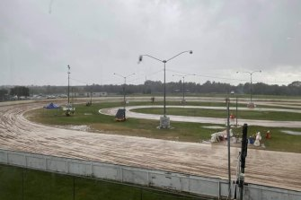 A water-logged Mick Doohan Raceway on Saturday.