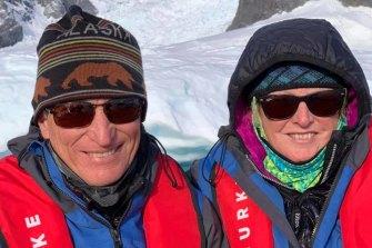 Australian passengers Wayne and Rowena Hamilton on board the Greg Mortimer, stranded off Uruguay.
