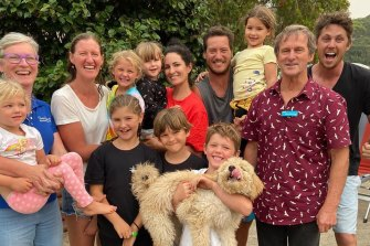 Shoalhaven City Council mayor Amanda Findley, left, with the rescued people and their dog.