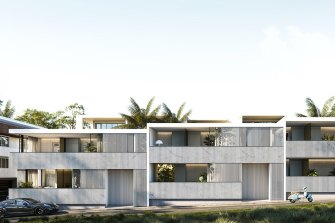 An artist's impression of 16 Asher Street, Coogee. Critics have compared the finished building to a substation and a car park.