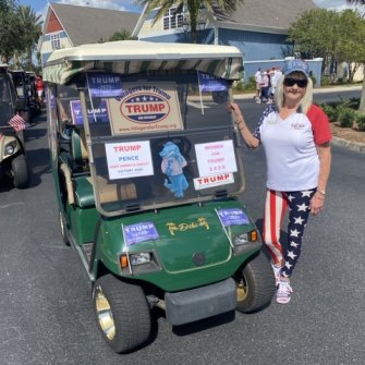 Debi Hahn at a pro-Trump golf cart parade in The Villages.
