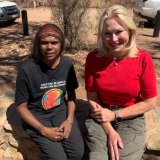 Invitation accepted: Kerri-Anne Kennerley in Alice Springs with Shirleen Campbell from the Tangentyere Women's Family Safety Group after the on-air clash.