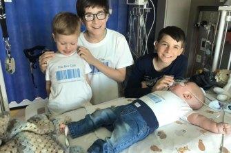 Joshua,Wyatt and Jacobie with Winston.