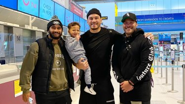 Sonny Bill Williams leaving the UK. Pictured with Toronto teammates Bodene Thompson and Ricky Leutele.