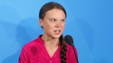 Greta Thunberg addresses the Climate Action Summit at the UN headquarters.