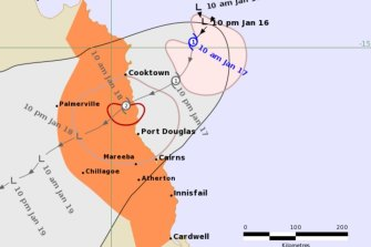 Cyclone Kimi was expected to cross the coast on Monday morning.