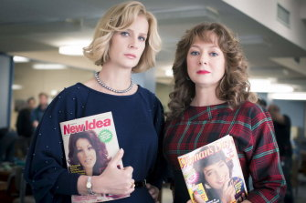 Mandy McElhinney (right) played Nene King, while Rachel Griffiths took on Dulcie Boling in Paper Giants: Magazine Wars.