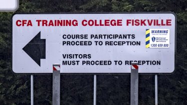 A sign at the Fiskville site, west of Melbourne.
