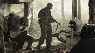 Travis Fimmel as Major Harry Smith on the set of Danger Close.