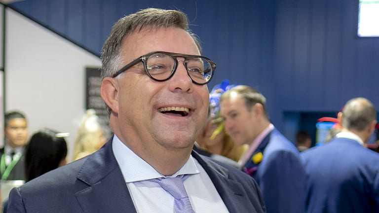 Lobbyist and Liberal powerbroker Michael Photios at the Furphy marquee.