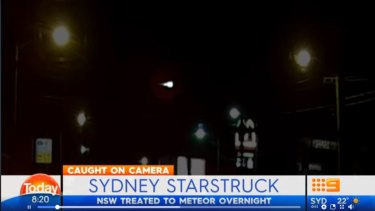 A screen grab of Today's news report on the meteor, showing dashcam footage taken over Sydney.