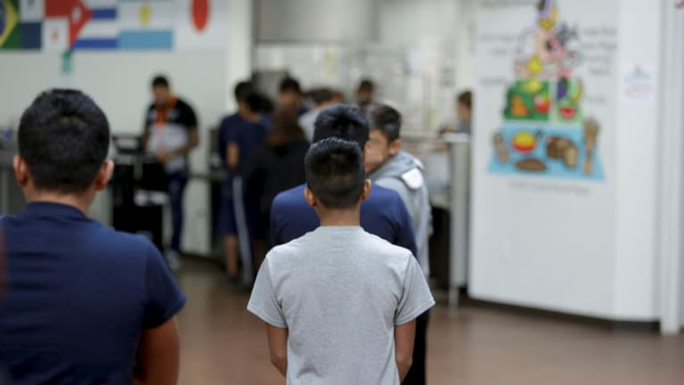 A child at the immigrant detention facility for minors in Brownsville, Texas, known as Casa Padre.
