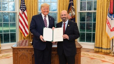 Arthur Sinodinos presented his credentials to US President Donald Trump in early February.