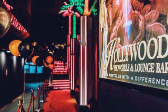 The exterior of Hollywood Showgirls on the Gold Coast, outside which the fracas occurred.