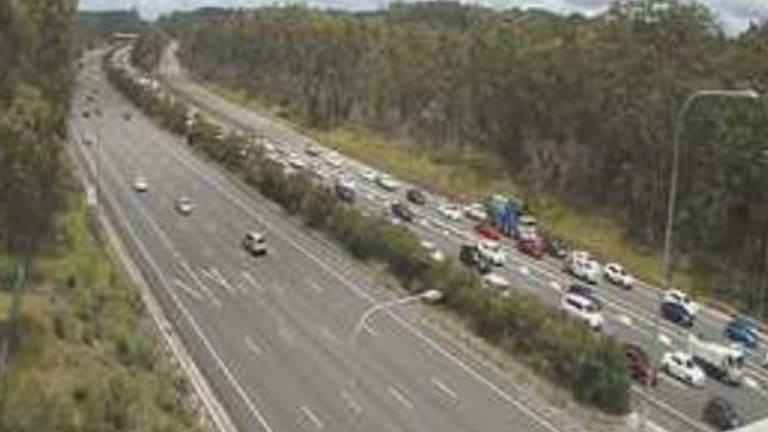 Northbound congestion on the M1 stretched back about six kilometres by 12.30pm.