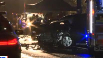 Two dead, three in hospital after horror crash on Calder Freeway