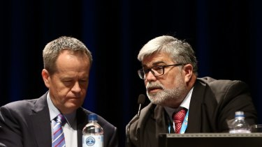 Labor Leader Bill Shorten and Left powerbroker Kim Carr during the 2015 Labor national conference.