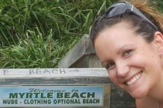 Lisa Bray of Canberra takes a cheeky selfie at the Myrtle Beach sign.