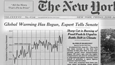 How the New York Times covered the 1988 speech by James Hansen.