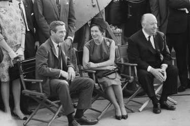 Paul Newman, Princess Margaret and Alfred Hitchcock on the set of Hitchcock's Torn Curtain in 1966.
