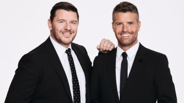 My Kitchen Rules hosts Manu Fieldel and Evans.