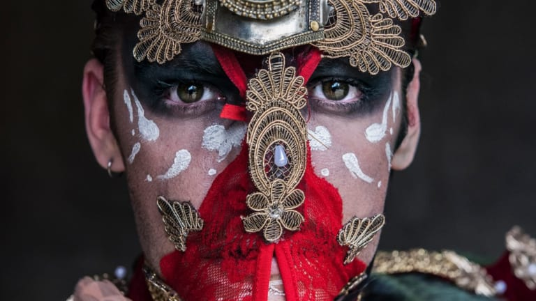 Performance artist  Akashic who appeared at the 2017 opening of the Sydney Fringe Festival in which a strong security presence was required.