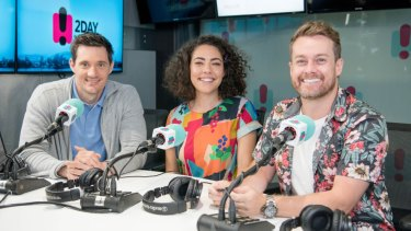Axed: 2Day FM breakfast's Ed Kavalee, Ash London and Grant Denyer.