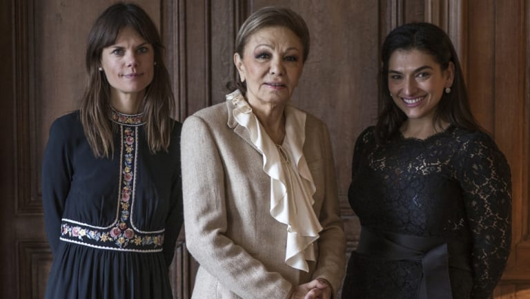 Pahlavi (centre) with her book's authors, Miranda Darling (left) and Viola Raikhel-Bolot.