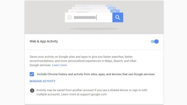 The Web & App Activity setting, as seen on a desktop web browser.