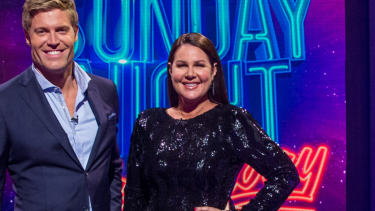 Chris Brown and Julia Morris host Sunday Night Takeaway on 10.