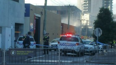 Police attend the fire at Southbank in 2017.