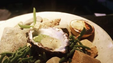 Coffin Bay oysters with blue quandong,  lemon aspen jelly and radish leaf pearls will be served.