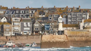 A view of St Ives from Porthminster Beach in Cornwall.