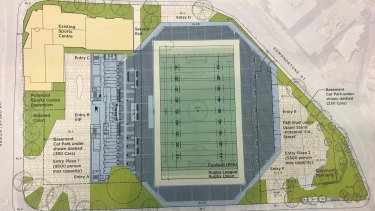 Plans for a 15,630-seat boutique stadium at Perry Park, Brisbane.