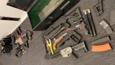 The result of the homemade firearms find in the Logan suburb of Marsden.
