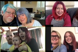 Jennie Duggan (top right) dyed her hair pink for a themed Zoom call for her 50th birthday.