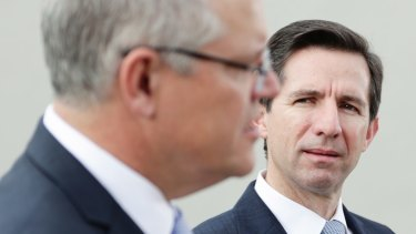 Prime Minister Scott Morrison, left, and Trade Minister Simon Birmingham.