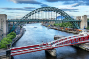 The Swing Bridge across the Tyne River between Newcastle and Gateshead in the north east of England whitley australian capital city names