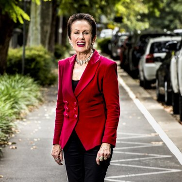 Sydney lord mayor Clover Moore on the Bourke Street cycleway on Friday.