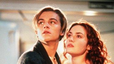 Leonardo DiCaprio and Kate Winslet in the movie Titanic.
