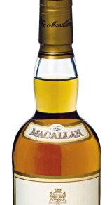 A bottle of 12 year old straight malt Macallan scotch whiskey