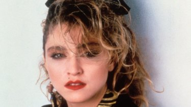 American singer-songwriter and actress Madonna (Madonna Louise Ciccone) posing on the set of the film Desperately Seeking Susan. New York, 1985.
